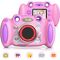 Campark Kids Camera for 4-8 Year Old Girl Gifts Front and Rear Selfie Digital Camera for Toddler Elementary Students with 2 inch Screen Anti…