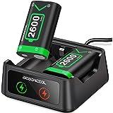 BEBONCOOL Batteri för Xbox One Kontroll med 2 x 2 600 mAh uppladdningsbara batterier, laddare för Xbox Series X/Xbox Series S