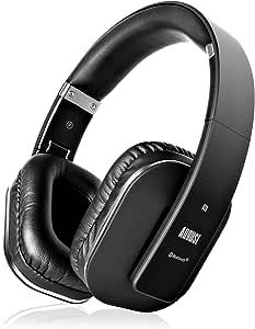 August EP650 - Bluetooth Kopfhörer v4.2 NFC mit aptX Low Latency - Stereo Over Ear Headphones mit August Audio App kabellose Kopfhörer mit Mikrofon für Freisprecher tiefer Bass 15h Akku (schwarz)