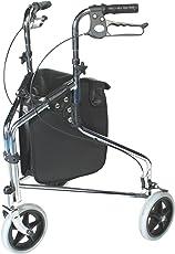 Patterson Medical Rollator, 3-rädrig, feststellbare Bremsen mit Schlaufengriff, verchromt