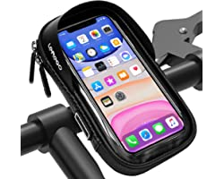 LEMEGO Support Téléphone Vélo Etanche, Sacoche Vélo Guidon Cadre Housse de Téléphone Rotatif pour Vélo VTT Moto Scooter avec