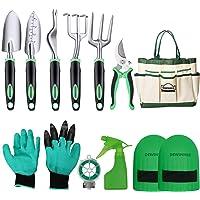 DEWINNER Garden Tool Set, Hand Tool Gift Kit, Outdoor Gardening transplanting for Gardener, with heavy duty hold bag for storage