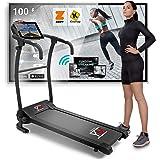 YM TAP100 Cinta De Correr Eléctrica Plegable 10 km/h, Aplicaciòn Compatible Kinomap y Zwift, 12 Programas, Sensor Cardìaco Lu