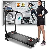 Tapis De Course Pliant Electrique 10 km/h, Bluetooth + APP KINOMAP et ZWIFT, Capteur Cardiaque, 12 Programmes…