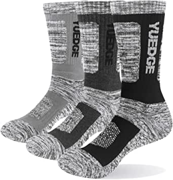 YUEDGE Men's 3 Pairs Wicking Breathable Cushion Anti Blister Caual Crew Socks Multi Performance Walking Athletic Socks