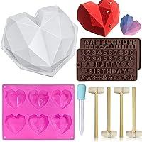 Moule en diamant en forme de coeur, moule de cuisson en silicone numéro d'amour alphanumérique 3D moule à plateau pour…
