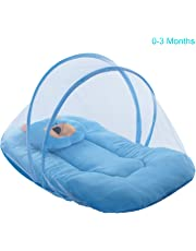 Cutieco Soft and Comfortable New Born Baby Bedding Set with Protective Mosquito Net and Pillow, Sky Blue