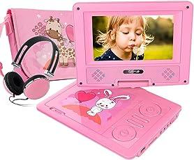 FUNAVO 7.5'' Tragbarer DVD-Player, Schwenkbaren Bildschirm, 5 Stunden Akku, Unterstützt SD-Karte und USB, mit Kopfhörer, Tragetasche, Auto-Ladegerät (Rosa)