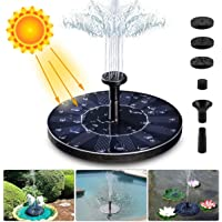 LIUMY Solar Fountain Pump, 1.4W 150L / H Circle Solar Power Water Fountain Panel with 6 Attaches, Floating Pump for Pond, Fountain, BirdBath, Garden Decoration, Water Cycling, No Electricity Required