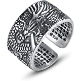 LOVECOM 990 Sterling Silver Dragon Rings for Men Vintage Open Ring Thai Silver Jewelry Cool Birthday Party Gift