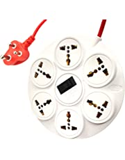 ELV Surge Protector and Spike Guard, 10 AMP, 6 Socket Extension Board Cord, 6 Feet Wire, Overload Protection Master Switch with LED, MOV with Fire Resistance Sleeve - White