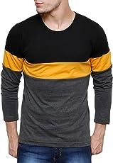 Cenizas Men's Full Sleeves Solid Stripes Round Neck Tshirt/T-Shirt
