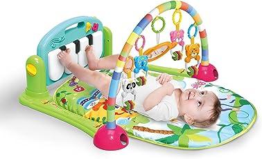 4in 1kick and Play piano palestra tappeto da gioco, unisex bambino palestrina attività musicale, peluche, sonaglio, Light & Sound Playmat Discovery Playmat tappeto per bambini neonati calci e 0–36mesi