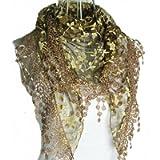 HugeStore Women Ladies Elegant Lace Tassel Blending Silk Long Scarf Scarves Wrap Shawl Triangular Scarf Coffee