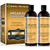 Jadole Naturals Organic Moroccan Argan Oil Hair Shampoo and Conditioner Treatment Set For All Hair Types, Infused with Kerati