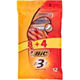 BiC 3 Sensitive Mens Triple Blade Disposable Shaver Pack of 8+4 Free