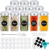 Gifort Botes de Especias Cristal, 12PCS Tarros de Vidrio Cuadrados para Especias 120ml con Etiquetas, Tapas Herméticas y Embu