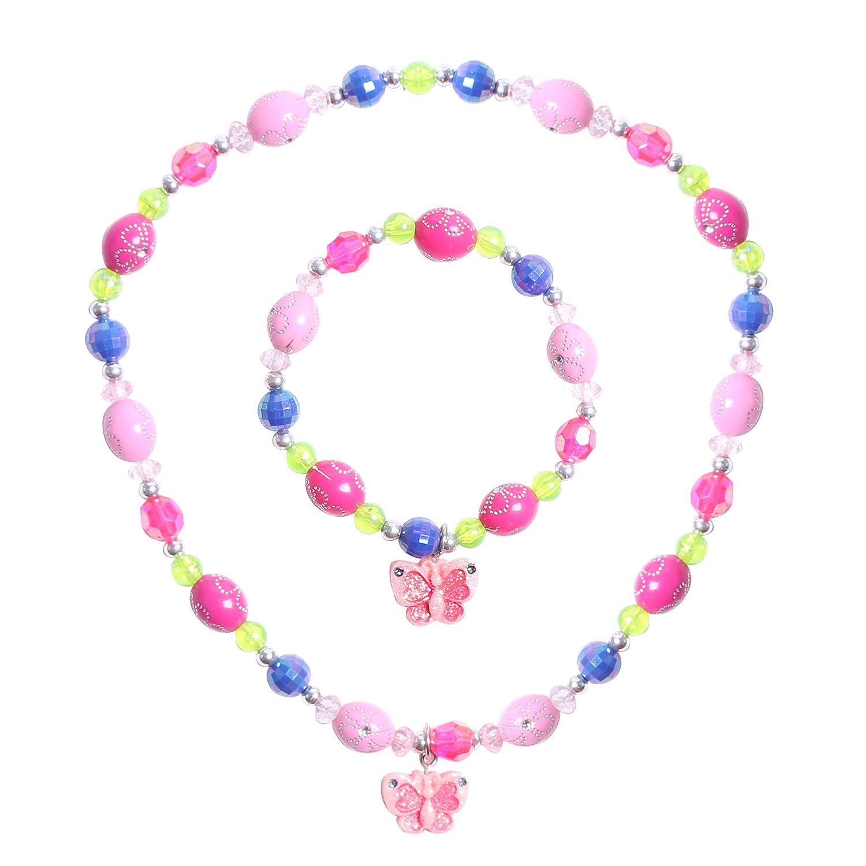 Maelovebunny Childrens Butterfly necklace, Toddler Girls Shimme Butterfly Necklace and Bracelet Set