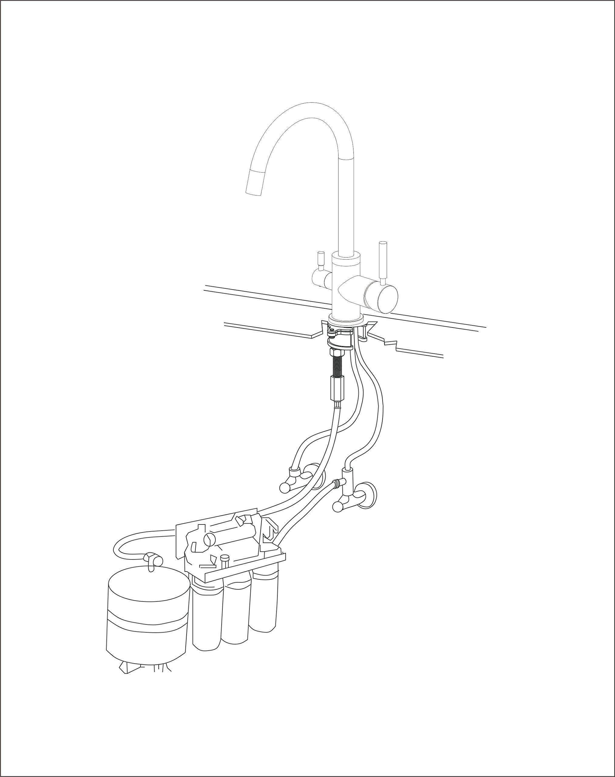 71Sjy8e3ZEL - smardy DUO302 Caño Giratorio 360° Grifo 3 Vias para osmosis inversa Agua Purificada (RO) Mangueras Conexión 3/8