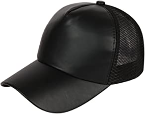 DRUNKEN Men's Faux Leather Mesh Plain Snapback Baseball Cap for Hunting, Fishing, Outdoor Activities (Black, Free Size)