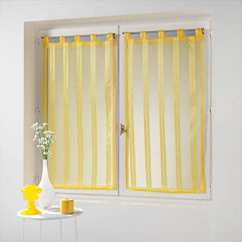 Douceur d' interno coppia destra passanti Voile Righe Jacquard Bandas, Poliestere, giallo, 160x 60cm