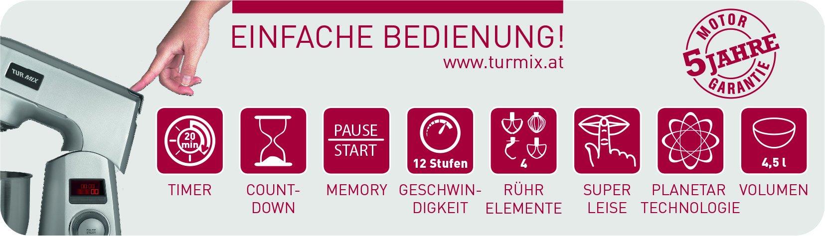 Turmix-CX-950-Kchenmaschine-1200-Watt-45-Liter-silber