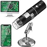 WiFi Microscopio Digital,HEYSTOP 1080P HD 2MP Mini Cámara,Aumento de 50 a 1000x Endoscopio,8 LED USB 2.0 Microscopio Ddigital