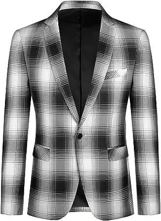YOUTHUP Men's Plaid Slim Fit Blazer Casual 1 Button Jacket Classic Lapel Suit