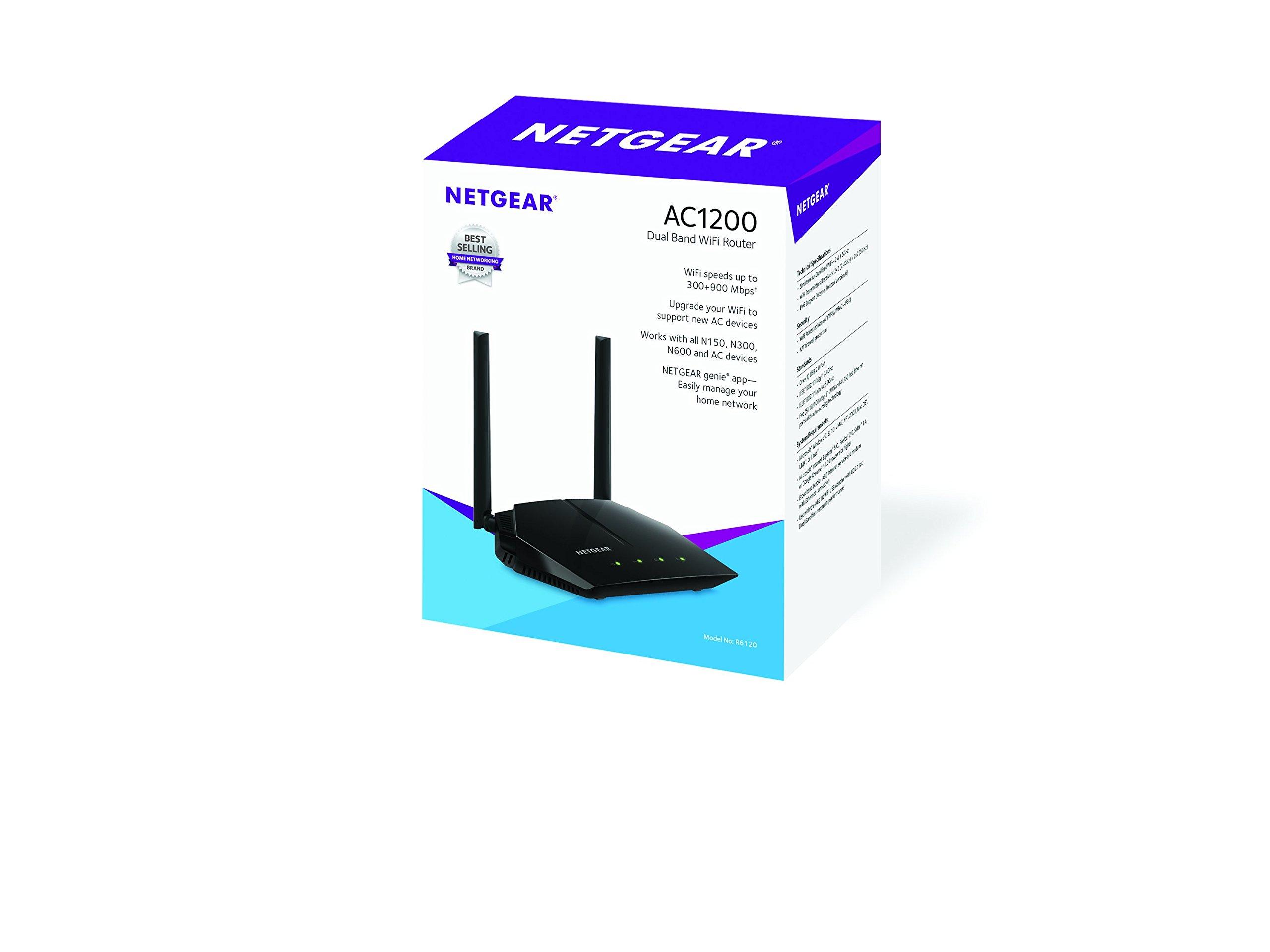 Netgear R6120-100PES AC1200 Gigabit Dual Band WLAN Router, Schwar