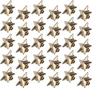 Chudian 30 Pezzi Spilla a Forma di Stella,Oro Distintivo della Stella con 5 Punte Spilla Pin Stella 1.8CM per Festa di Donne Uomini e Bambini