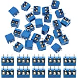 IZOKEE 60 Pièces Bornier à Souder Bleu 5mm, Bornier à Vis de PCB Circuit Imprimé 2 Broches (Pin) et 3 Broches (Pin) pour Arduino