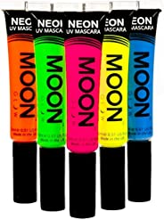 Moon Glow - Blacklight Neon Mascara 0.51oz Set of 5 colors - Glows brightly under Blacklights/UV Lighting!