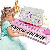 Teclado Electrónico Piano, Magicfun Teclado Piano Portátil 61 teclas, Recargable USB Digital Electrónico Keyboard con Atril y