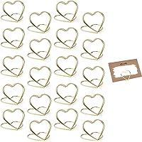 Clip Memo Cuore Metallo, 20 Pezzi Clip Tavolo Porta Cuore Metallo, Memo Holder Metallo, Supporto Segnaposto Metallo…