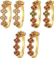 Much More Traditional Crystal Stones Work Toe Ring for Women & Girls Gift Jewellery (Green,White & Pink)
