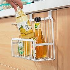 HOME CUBE® Multifunctional Metal Storage Basket Kitchen Cabinet Drawer Organizer Door Hanger Storage Holder Shelf Kitchen Rack - White