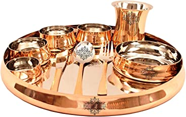 IndianArtVilla Curved Steel Copper Thali Multicuisine Dinnerware Set