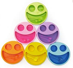 Shopkooky Multicolor Cute Big Smiley Plates for kids with Fork and Spoon return gifts for kids birthday in bulk (Pack of 6)