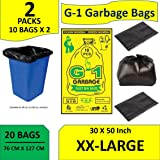 G-1 Jumbo Disposable Garbage Trash Waste Dustbin Bags XX Large 30 X 50 inches Pack of 2 20 Pcs