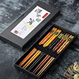 Bosdontek Japanse sushi eetstokjes 5 paar eetstokjes hout herbruikbare natuurlijke eetstokjes wasbaar voor vaatwasbakjes eets