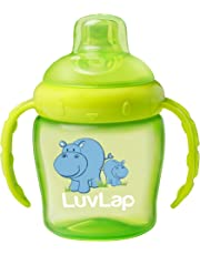 Luvlap Hippo Sipper/Sippy Cup 225ml, Anti-Spill Design with Soft Silicone Spout, 6m+ (Green)