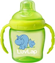 Luvlap Hippo Sipper / Sippy Cup 225ml, Anti-Spill Design with Soft Silicone Spout, 6m+ (Green)