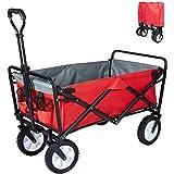 عربة أطفال قابلة للطي شديدة التحمل وقابلة للطي في الهواء الطلق والتخييم في الحديقة مع عجلات عالمية ومقبض قابل للتعديل، أحمر و
