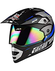 Aaron Motocross Full Face Helmet with Bluetooth Kit (Matte Black and Blue)