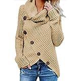 Fiyote - Jersey de manga larga para mujer, cuello redondo, con botones cruzados, para otoño e invierno, informal, dobladillo