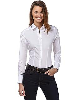 Dioufond Camicia Donna Cotone Manica Lunga Camicetta da Ufficio