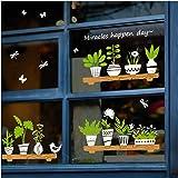 Dubbelzijdige plantenstickers raamdecoratie stickers, groene planten wanddecoratie sticker, verwijderbare doe-het-zelf zelfkl