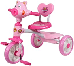 GoodLuck Baybee Baby Girls and Baby Boy's Plug and Play Cow Tricycle (Pink, 2-4 Years)