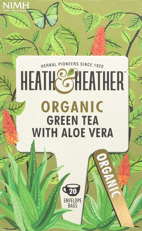 Heath & Heather organic green tea tea bundle (soil association) (green tea) (6 packs of 20 bags) (120 bags) (a vegetal tea with aromas of aloe vera) (brews in 2-3 minutes)