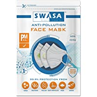SWASA® N95 Mask FFP2 - PM 0.3 μm | Reusable N95 Mask Without Valve (White Color, Pack of 3)
